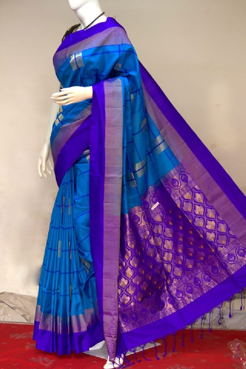 Upada Blue Silk Saree with Blue Border | Resham Bazaar