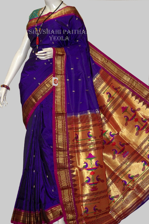 Fancy pallu navy blue paithani with golden red  border