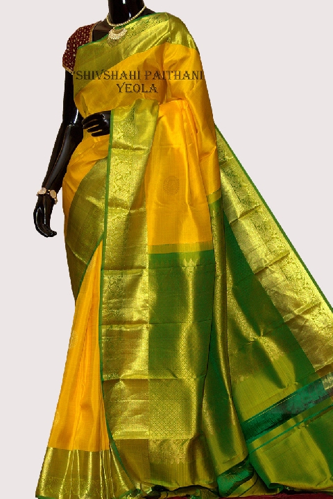 Kanchipuram Yellow Silk Saree with Golden Green Border | Resham Bazaar