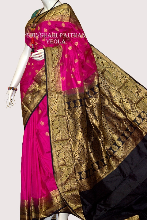 Kanchipuram Pink Silk Saree with Golden Black Border | Resham Bazaar